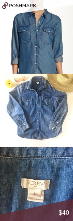 J Crew Denim Chambray Button Down Shirt Large Size Large, in good used condition. Please review photos and comment with any questions. I am open to reasonable offers and provide even greater bundle discounts!! J. Crew Tops Button Down Shirts