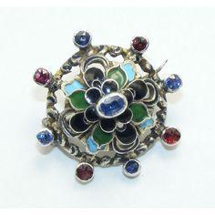 antique sapphire brooch | Antique sapphire enamel brooch Russian silver - AntiquesAvenue
