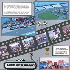 My hubby is a big NASCAR fan - and was a huge Dale Earnhardt fan. The two photos on top are from our day at Michigan Speedway, in Bottom photo just shows some of our NASCAR souvenirs & keepsakes. Journaling reads: My very first live NASCAR r Scrapbook Layout Sketches, Scrapbook Titles, Disney Scrapbook, Travel Scrapbook, Scrapbooking Layouts, Indy Car Racing, Nascar Race Cars, Indy Cars, Nascar Sprint