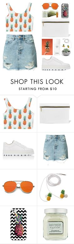 """""""Orange-pineapple days"""" by nadialesa ❤ liked on Polyvore featuring WithChic, Victoria Beckham, MM6 Maison Margiela, Ksubi, ZeroUV, Chanel, Casetify, Laura Mercier and pineapple"""