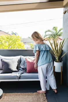 Finishing touches by Heidi Albertiri.  The completed verandah makeover. Outdoor sofa and pots.  The Supa Centre Moore Park Stylist Heidi Albertiri Photographer Heloise Love  www.thelifestyleedit.com.au www.thesupacentremoorepark.com.au Moore Park, Outdoor Sofa, Centre, Pots, It Is Finished, Stylists, Home Decor, Fashion, Homemade Home Decor