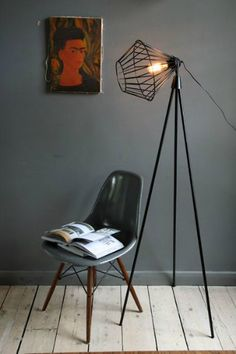 Tripod floor lamp | Industrial style: use modern floor lamps - see more at http://modernfloorlamps.net/industrial-style-use-modern-floor-lamps/