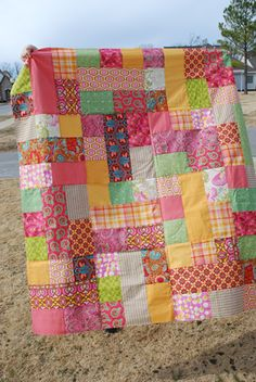 Beginner Fat Quarter Quilt Patterns | The pattern is Fat Quarters Gone Wild, and the quilt top measures 59 x ...