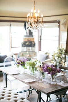 #dining-room, #chandelier  Photography: Matthew Land Studios - www.matthewland.com  Read More: http://www.stylemepretty.com/living/2014/04/18/10-tips-for-a-perfect-easter-brunch-with-sinclair-moore/
