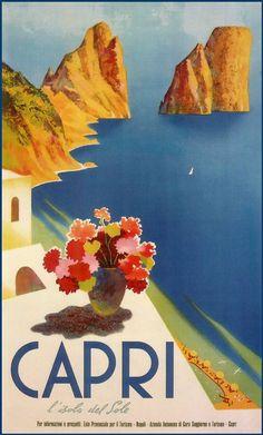 Vintage Italy Capri Island Poster  http://www.amazon.com/La-TAVOLA-Adventures-Misadventures-American/dp/1463618123