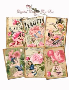 INSTANT DOWNLOAD - Gift Tag - Beauties - 2.5 x 3.5 - ACEO  - Printable  Digital Collage Sheet - pinned by pin4etsy.com