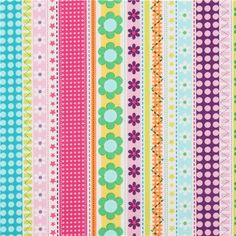 white stripes fabric with flowers dots Michael Miller pink
