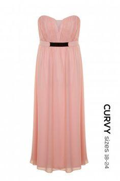 Curvy Soft Pink Maxi Dress with Metal Waist Detail