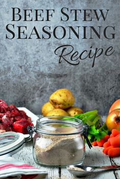 Season your stew meat with Beef Stew Seasoning Mix before you brown it. The blend of herbs and spices adds flavor and the flour will thicken your favorite beef stew recipe. Homemade Dry Mixes, Homemade Seasonings, Homemade Spices, Homemade Beef Stew, Beef Stew Seasoning, Seasoning Mixes, Vegetable Soup Seasoning, Seafood Seasoning, Soup Mixes