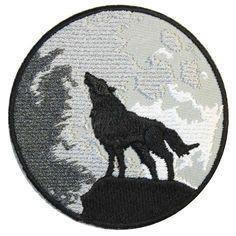 Wolf and moon patch grijs/zwart