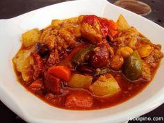 Callos - Ox Tripe, Sausage and Chickpea Stew Filipino Style Philippines, Filipino Recipes, Filipino Food, Filipino Dishes, Tripe Recipes, Pinoy Food, Beef Recipes, Chickpea Stew, Best Beans