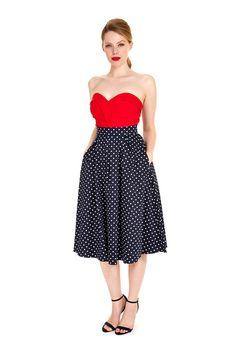 Navy Polka Dot Classic 50's Skirt