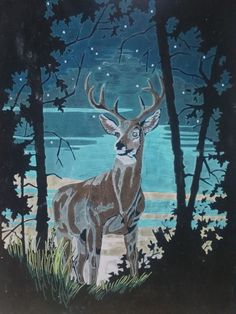 "Vtg Black Velvet Painting Stag Deer Buck Elk 19 3/4"" x 30"" Kitch Art  70's Era? #Velvet"