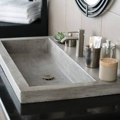 "Native Trails NSL3619A 36"" x 19"" Trough Drop-In Bathroom Sink - Ash"