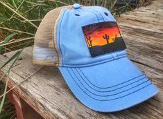 Hand Tooled Hand Painted Custom Leather Snapback Mesh Patch Cap Light Blue with Desert Sunset Scene