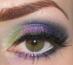 Green, Purple and Teal Makeup look with Aromaleigh
