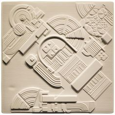 Eduardo Paolozzi Plaque for Rosenthal | From a unique collection of antique and modern wall-mounted-sculptures at https://www.1stdibs.com/furniture/wall-decorations/wall-mounted-sculptures/