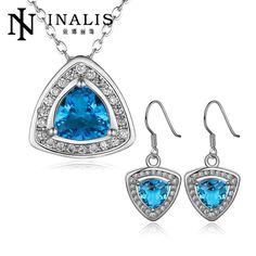 S423-C Fashion Nickel and lead blue crystal free mixed styles Rose gold Color  plating jewelry set