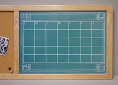 "Our popular ""Art Deco Chalkboard"" Dry Erase Calendar combined with a cork board makes a super-functional Command Center! By Tailor Made Whiteboards"