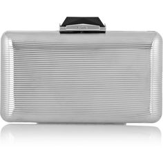 Kotur Espey embossed silver-tone box clutch ($450) ❤ liked on Polyvore featuring bags, handbags, clutches, silver, hard clutch, box clutch, print purse, evening clutches and chain strap purse