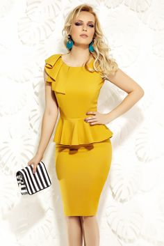 Fofy mustard dress elegant pencil frilled with ruffle details, with ruffle details, sleeveless, women`s dress, form-fitting
