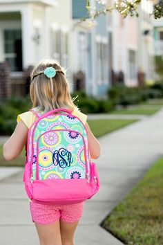 A personal favorite from my Etsy shop https://www.etsy.com/listing/265658754/monogram-paisley-backpack-paisley #girls #monogram #backpack #initials