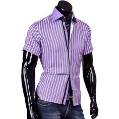 Рубашка Louis Fabel приталенная цвет сиреневый в полоску