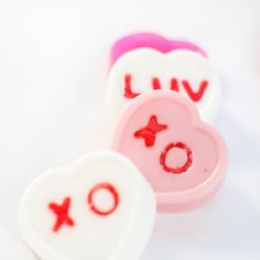 Learn how to make these super-sweet conversation heart soaps for Valentine's Day. Great gift for friends!