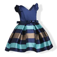 Dinlong Summer Toddler Baby Kids Girls Fly Sleeve Doll Collar Lace Bow Dress Casual Princess Skirt
