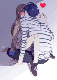 Anime couple gif Anime Sexy, Anime Cupples, Anime Wolf, Couple Amour Anime, Couple Anime Manga, Anime Love Couple, Anime Couples Cuddling, Anime Couples Drawings, Anime Couples Manga