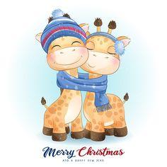 Floral Illustrations, Cute Illustration, Watercolor Illustration, Merry Christmas Gif, Christmas Art, Christmas Ribbon, Christmas Colors, Doodles Bonitos, Giraffe Family