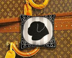"""Pug Silhouette Ornament in Fabric - Traveling in style - $7.00 - 3.5"""" square"""