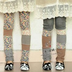 Frost mori girl style cotton patchwork trousers lolita cawaii winter warm basic legging floral print harajuku clothing