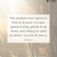 """Mercy is like a diamond; it is multi-faceted. Learn the seven facets of mercy, because if you'll learn how to be an agent of mercy, it will transform your relationships. Click on the image to read this devotional from Pastor Rick Warren. """"The wisdom from above is first of all pure. It is also peace loving, gentle at all times, and willing to yield to others. It is full of mercy."""" (James 3:17a NLT, second edition)"""