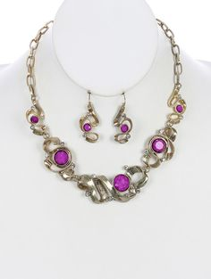 Arabella Ave by Tina  http://www.arabellaave.com/?a_aid=TinaGowans   NATURAL STONE SWIRL METAL BIB NECKLACE AND EARRING SET $12.95 SIZE 16 INCHES LONG COLOR Purple NATURAL STONE, SWIRL METAL, BIB LINK CHAIN, FISH HOOK,  1 1/4 INCH DROP NICKEL AND LEAD COMPLIANT
