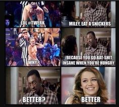 Vma's: fail : Miley Cyrus : twerking : have a snickers : back to herself : funny pictures