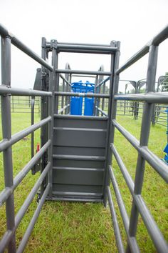 For use between any section of alley panels in an adjustable alley, this heavy duty roll gate can be used to block cattle and provide alley support.