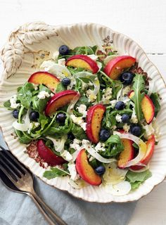 Roasted Peach, Fennel, Goat's Cheese, Blueberry and Rocket Salad
