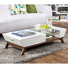 Furniture of America Kress Glass Insert Coffee Table - 13133603 - Overstock - Great Deals on Furniture of America Coffee, Sofa & End Tables - Mobile Centre Table Living Room, Center Table, Living Area, Living Rooms, Table Furniture, Living Room Furniture, Furniture Design, White Furniture, Coffee Table With Storage