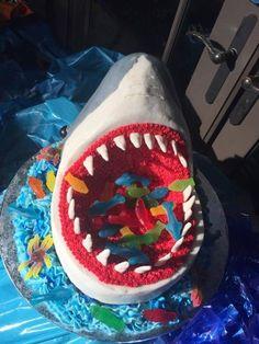 Shark Cake This was a birthday cake for a little girl who had a shark themed poo. Shark Cake This was a birthday cake for a little girl who had a shark themed pool party. Pool Birthday Cakes, 9th Birthday Cake, Pool Party Cakes, Pool Cake, Novelty Birthday Cakes, Birthday Cakes For Boys, Birthday Ideas, Shark Cake, Impreza