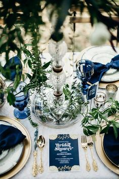 Pantone Color of the Year For Classic Blue Wedding ★ classic blue wedding table setting with greenery decor gold dishes search results Blue Wedding Receptions, Blue Wedding Centerpieces, Wedding Decor, Wedding Colors, Wedding Blog, Wedding Bride, Wedding Themes, Wedding Styles, Wedding Ideas