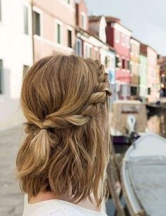 Trendy Messy Twisted Half-Updo for Medium Hair - School Hairstyles