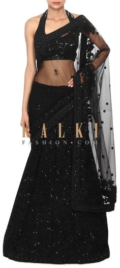 Buy Online from the link below. We ship worldwide (Free Shipping over US$100) Price- $469 Click Anywhere to Tag http://www.kalkifashion.com/black-lehenga-saree-in-thread-embroidery-only-on-kalki.html
