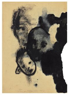 norbert schwontkowski. untitled 1996. oil & ink on paper 21 x 29.20 cm