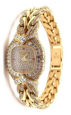 Patek Philippe Lady's Yellow Gold Diamond Ruby La Flamme Bracelet Watch #rolex #casio #watch