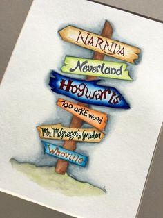 Gender Neutral Nursery Decor. Children's books sign post watercolor