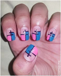 BEAUTIFUL PINK AND BLUE NAIL ART TUTORIAL STEP BY STEP