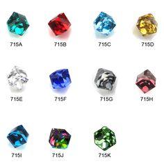 MNS715  Glitter 4MM Cube Square glass micro beads nail stone 3d nail art decoration 2014 new nail decorations 50pcs