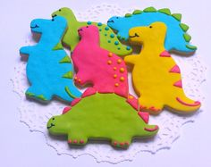 Dinosaur cookies! Delicious AND fun! Totally irresistible from pfconfections on Etsy (Love!)