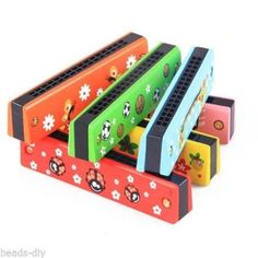 1X New Wooden 16-hole Harmonica Kids Children Musical Instrument Educational Toy
